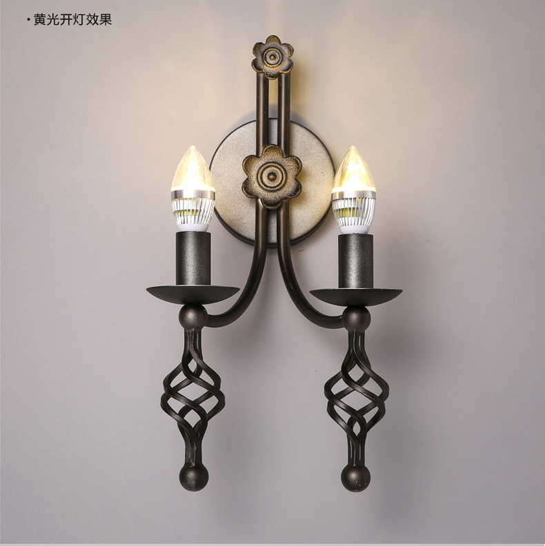 Loft American Vintage Wall Lamp 2 Lamp Candle Led Wall Lights Personality Wrought Iron Bar Coffee Shop Wall Sconces Lighting ...