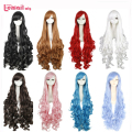 L-email wig Brand Cosplay Wigs Hot Selling 100cm 10 Colors Synthetic Hair Peruca White Pink Red Long Wavy Cosplay Wigs Perruque