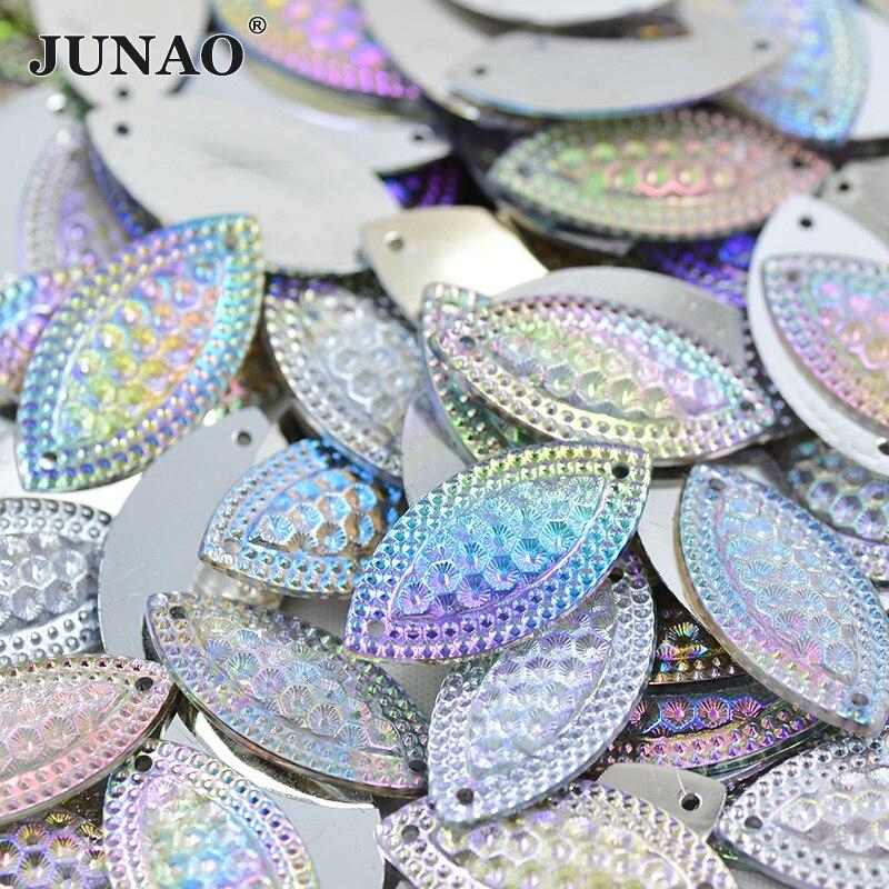 JUNAO 15*30mm Big Crystal AB Sew On Rhinestones Flat Back Acrylic Gems Sewing Big Crystal Applique Horse Eye Strass for Crafts