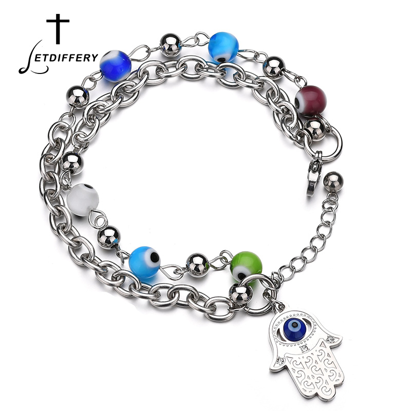 Letdiffery Vintage Handmade Hamsa Fatima Bangle Bracelets Stainless Steel Double Layer Beads Elastic Bracelet For Women