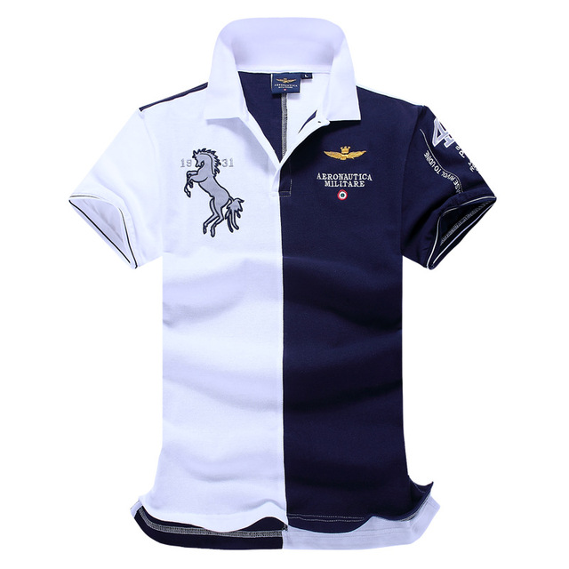 272e796355b New Arrival Air Force One Embroidery Men s Aeronautica Militare Men Shirts  Diamond Fashion Shark Clothing