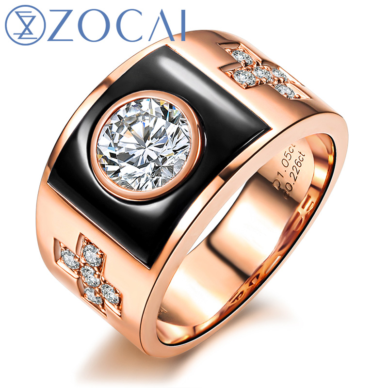 ZOCAI BRAND NATURAL 1.22 CT CERTIFIED H / VS DIAMOND MENS WEDDING BAND RING ROUND CUT 18K ROSE GOLD WITH BLACK AGATE ...