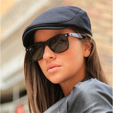 LUCKYLIANJI Retro Men Women Gatsby Casual Beret Cap Driving Cotton Sun Cabbie Newsboy Hat (One Size:55cm)
