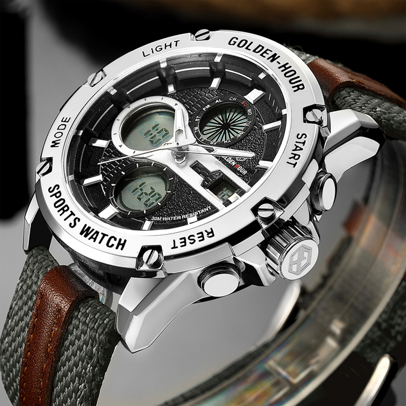 GOLDENHOUR Top Brand New Watch Men Luxury Sport Digital Analog Waterproof Multifunctional Military Fabric Strap Army Wrist Watch
