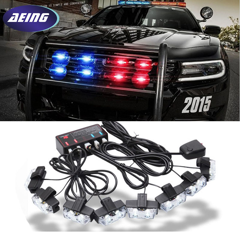 AEING Red Blue Amber White 8x2 Police Car LED Flash Emergency Strobe Car Grill Light Ultra Bright 16 LED EMERGENCY STROBE LIGHTS s4 viper car windshield led strobe light flash signal emergency fireman police beacon warning light red blue amber white