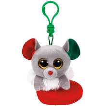 Ty Beanie Babies 10cm Christmas Mouse Keychain clip Plush Regular Stuffed Collectible Soft Big Eyes Doll Toy(China)