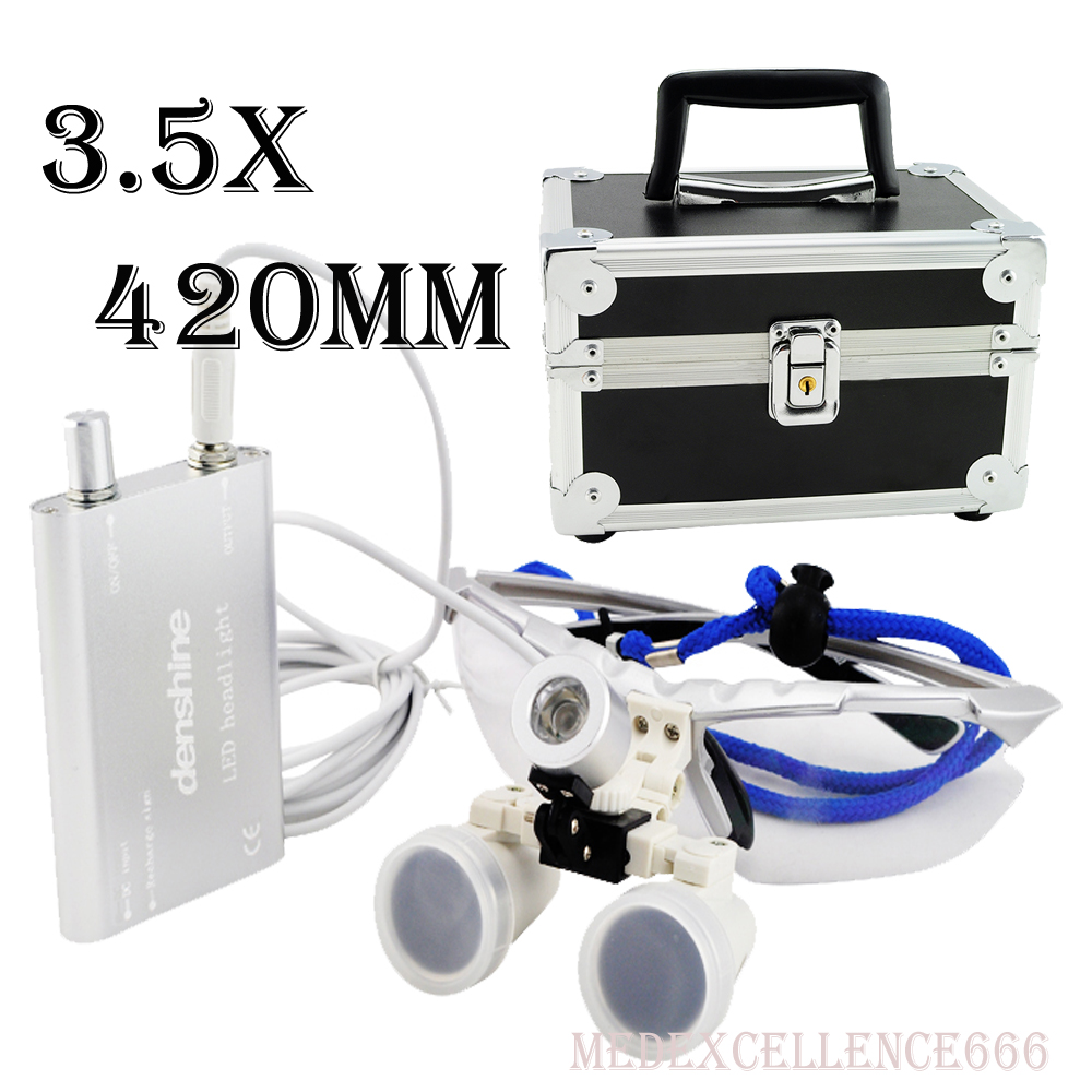 Dentist Dental Surgical Medical Binocular Loupes 3.5X 420mm Optical Glass Loupe+LED Head Light Lamp+Protective Carry Case 5lens led light lamp loop head headband magnifier magnifying glass loupe 1 3 5x y103