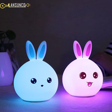 Lovely Rabbit Silicone Table Lamp Touch Dimming Cute Rabbit Desk Lamp USB Charging Tafellamp For Gift Child LED Lampara De Mesa(China)