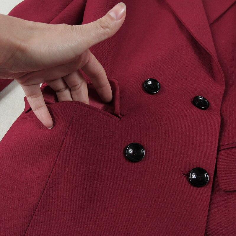 Completo Delle Slim Calda Dimensioni Nove A 2019 Petto Dell'esercito Con Di Verde Poliestere Grandi Lungo borgogna Nuovo Due Donne V Vestito Doppio Formato Pantaloni il Vendita Dritti Nero Scollo aI7awYq