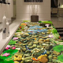 High - definition stream goldfish lotus 3D three - dimensional painting 3d waterproof self - adhesive floor painting wallpaper free shipping custom grass water goldfish 3d stereo floor stickers shopping mall restaurant self adhesive wallpaper mural