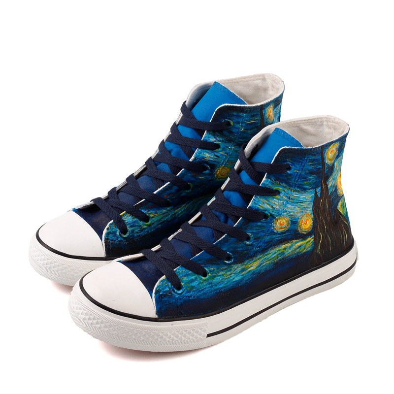 E-LOV Fashion Style Hand Painted Famous Artwork Starry Night Canvas Shoes Lace-up Men Boys Casual Espadrilles Footwear For Gift e lov japanese fresh style watermelon pattern women hand painted casual shoes painting platform shoes canvas shoes personalized