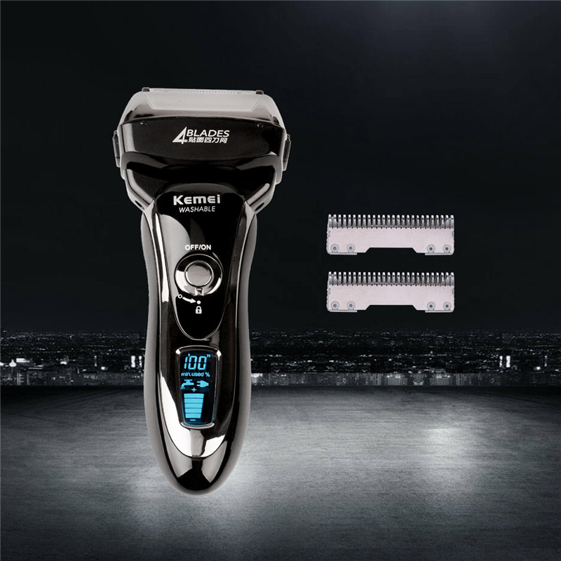 цена Kemei KM-5568 Electric Shaver Razor Reciprocating Four Blade Head Razor Men Machine Shaving LCD Display barbeador eletrico+Blade