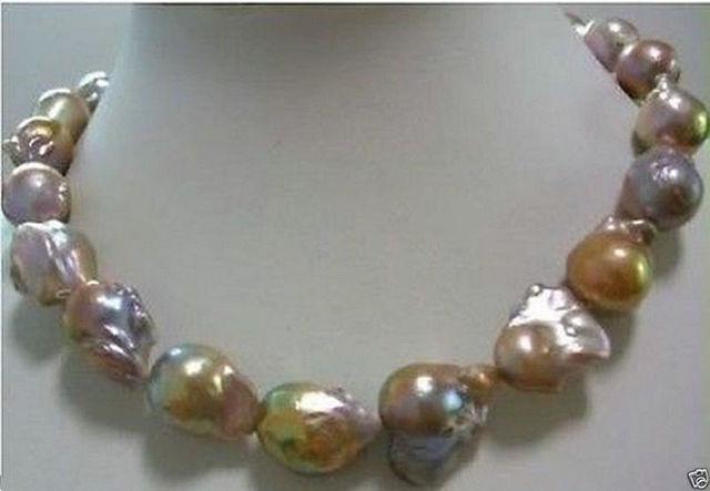 Venda Hot new Style >>>>> Cor enorme AAA 15-25mm do mar sul pérola barroca colar de 18 POLEGADA 14KGP