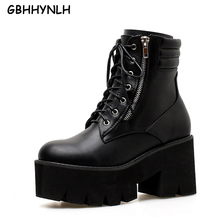 GBHHYNLH Women Ankle Boots Thick Heels Casual Shoes lace up Platform boots Back Zipper Autumn shoes punk black LJA423