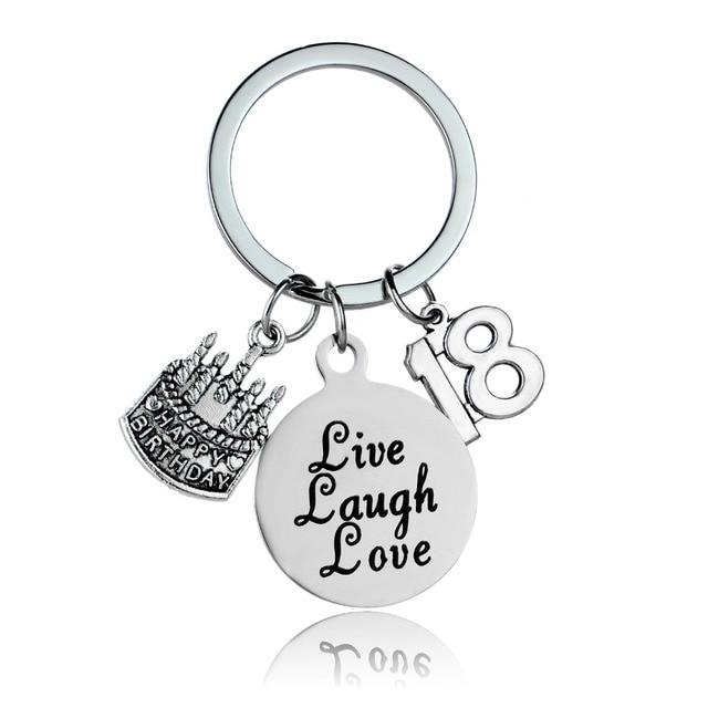 12 Pc Lot 18th Birthday Gift Jewelry Live Laugh Love Cake Pendant Keyring Key