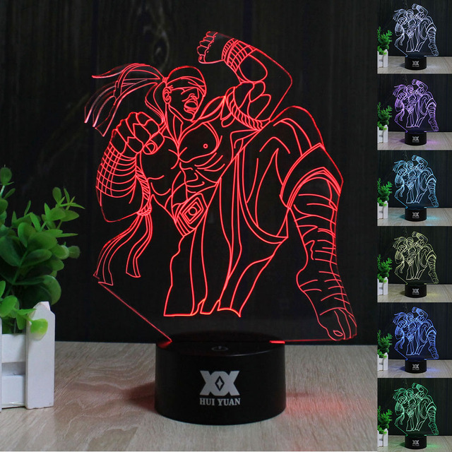 HUI YUAN 3D LED 7Color Touch Switch LOL the Blind Monk Lee Sin Desk Lamp  night light  LED table lamp as gift free shipping