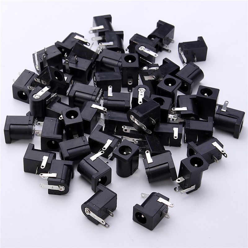 2018 50 pièces un ensemble DC-005 noir DC prise Jack connecteur DC005 5.5*2.1mm 2.1 prise autour du connecteur d'aiguille