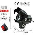 2 pcs 125 w U8 Motocicleta Farol Preto Shell LED cree chip condução Luz de Nevoeiro DRL Moto Cabeça holofotes luz do carro nevoeiro luzes