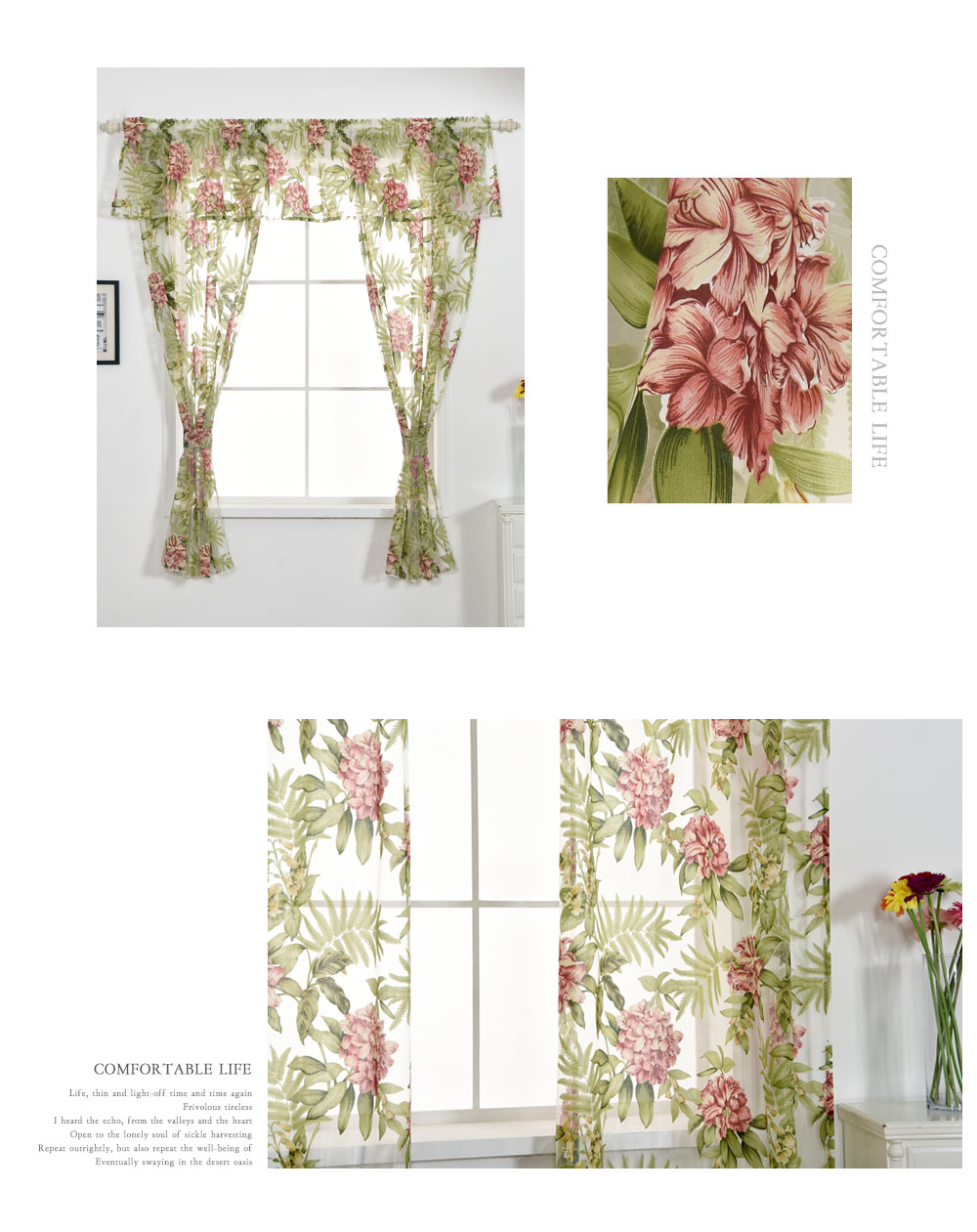 Free Shipping Short Floral Window Flower Tulle Set Home Decoration Design With Curtain Valance Curtain Tiebacks Green Kitchen Curtains