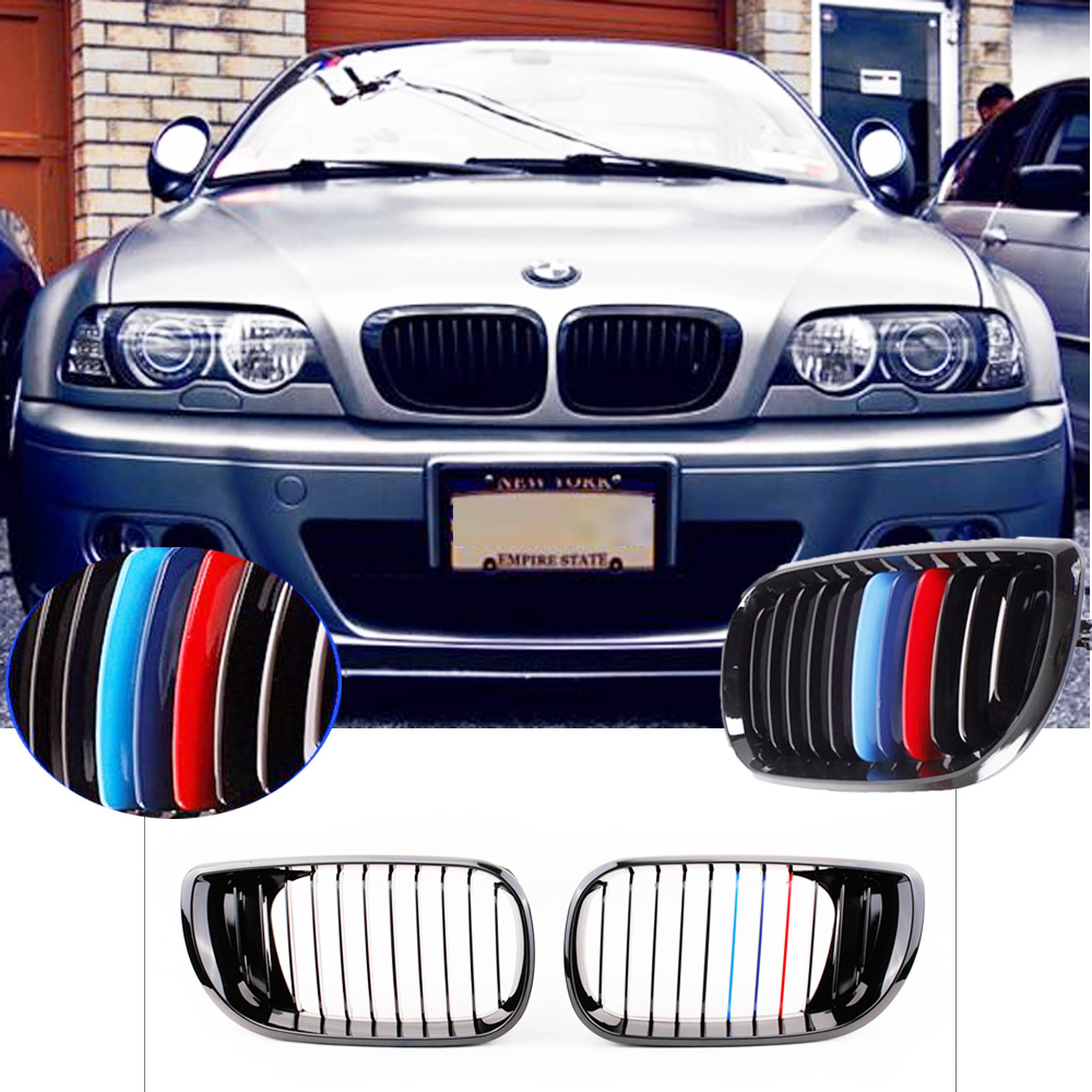 KKMOON Car-styling 2Pcs Black M-color Front Kidney Grille for BMW E46 4 Door 3 Series Facelift Saloon 2002-2005 2pcs matte black front kidney grilles for bmw x5 e53 3 0 4 4 4 6 4 8 04 06 car front bumper grille for modification car styling