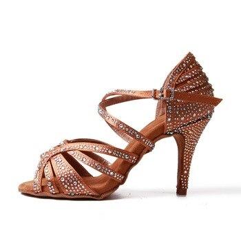 Women Ballroom Latin Dance Shoes Bronze Salsa Bachata Tango Social Dance Shoes Suede Sole Heel Cuban heel 9cm VA45 g d wilson cuban dance op 86