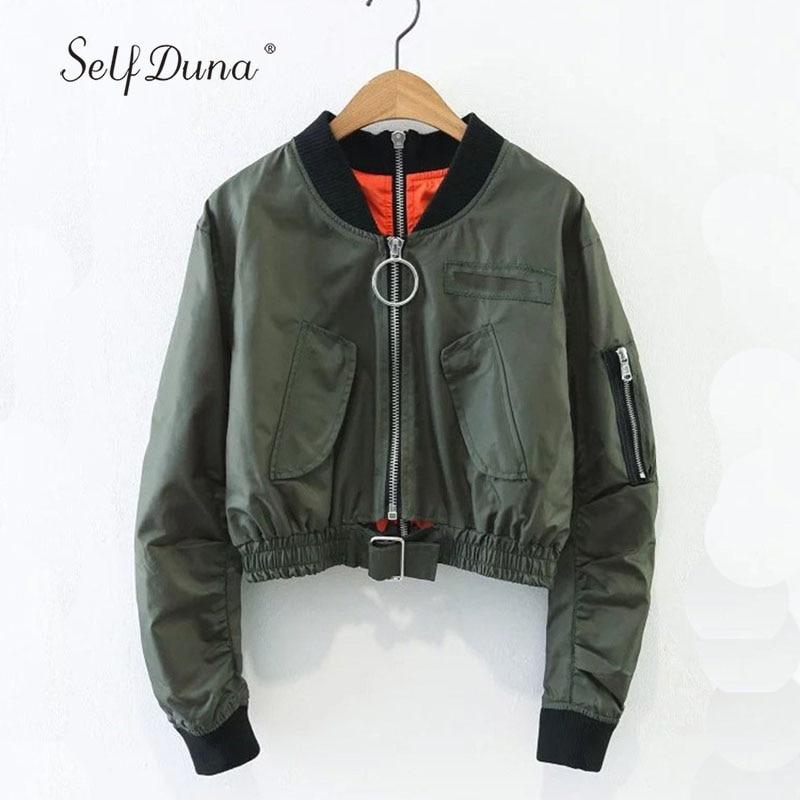 Self Duna 2019 Autumn Short Bomber Jacket Coat Long Sleeve Zipper Waistband Navy Loose Casual Pilot Women Basic Baseball Jackets