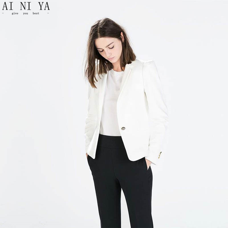 White Jacket Black Pants Slim Women Pant Suits Notch Lapel Women