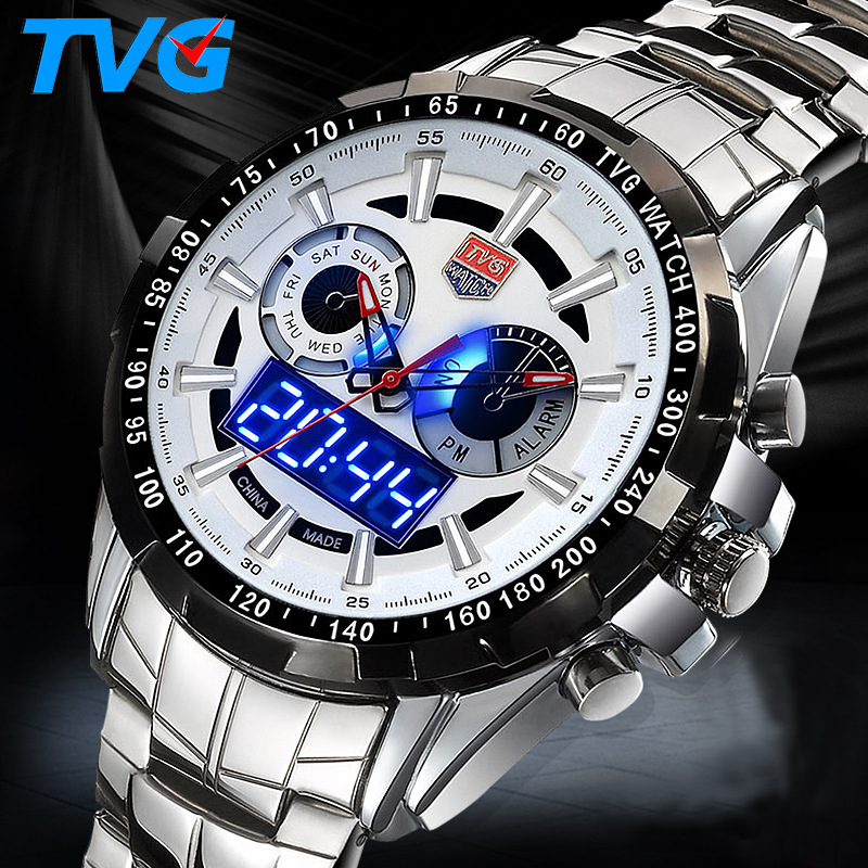 Military Digital Sport Watches Men's Stainless Steel Quartz LED 3ATM Waterproof Man Wristwatch Army Hombre