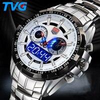 Top merk Militaire Digitale Sport Horloges heren rvs Quartz LED 3ATM Waterdicht man Horloge Leger Relogio Hombre-in Digitale Klokken van Horloges op