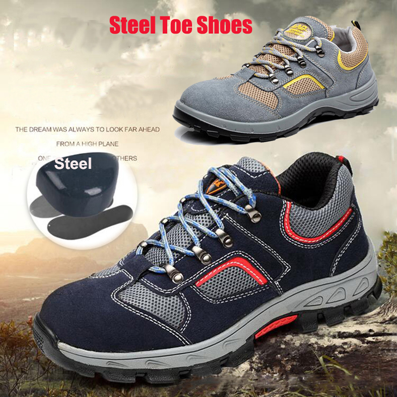 Men s Fashion Safety Anti piercing and anti piercing Steel Toe Shoes Breathable Work Boots Hiking