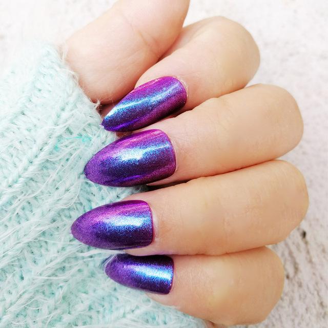 Beauty Fake Nails Glitter Chrome Nail Stiletto Tips Pre-Glue Artificial Fingernails Manicure Press on Nails Full Cover 12pcs/box