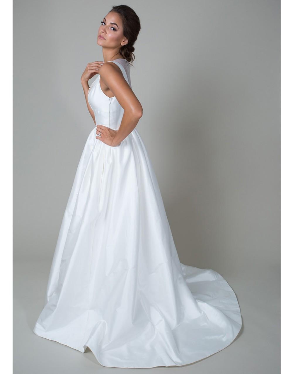 Vintage long white summer boho beach wedding dress with pockets 2015 v neck see through bridal gowns vestidos de noiva UD-442 3