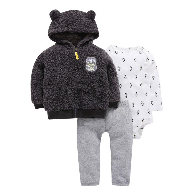 3 Piece Baby Boy Clothes Set Newborn Boy Animal Model Fleece Long Sleeve Jacket+cotton Rompers+pant Gray Autumn Winter Outfit