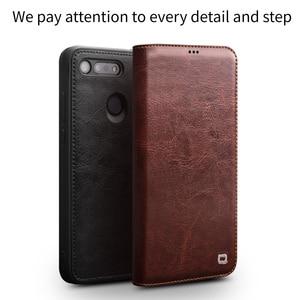 Image 5 - جراب هاتف من جلد طبيعي فاخر صناعة يدوية من QIALINO لهاتف Huawei Honor V20 جراب قلّاب فائق النحافة مع فتحة لبطاقة لهاتف Honor View 20