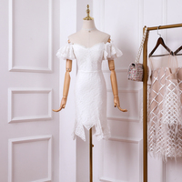 New 2019 dress white silk flowers splicing of tall waist cultivate morality fishtail a word shoulder beach holiday