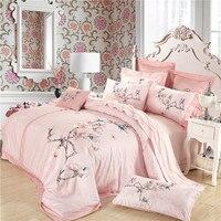 Восточный комплект постельных принадлежностей queen Размер египетского постельных принадлежностей хлопка цветочной вышивкой Пододеяльник