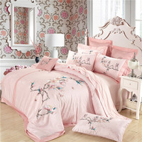 oriental bedding set queen size egyptian bedding cotton floral embroidered duvet cover luxury bedspread pink bed linens women