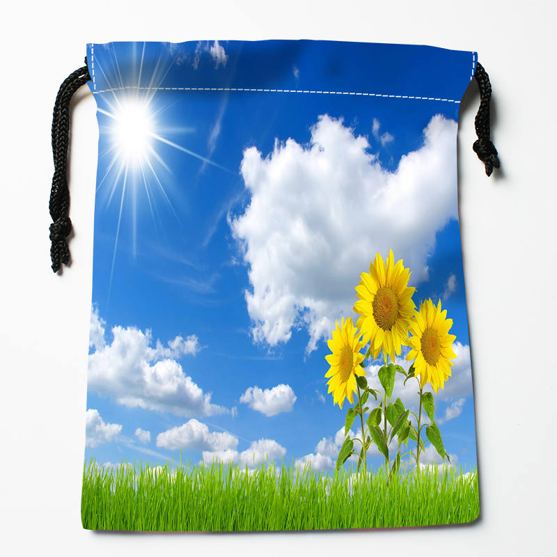Custom Blue Sky Printed Satin Storage Bag Drawstring Gift Bags More Size Storage Custom Your Image 27x35cm