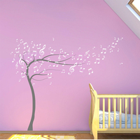 Sweeping Musical Notes Tree High Quality Art Vinyl Matt Music Decal Sticker perfect for Music Room Large Size Muraux F815