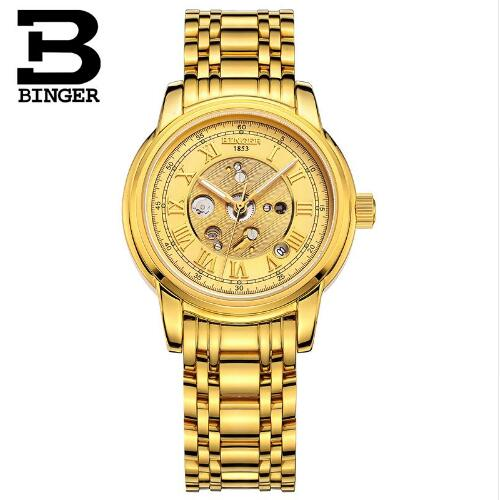 Switzerland Binger Men Wristwatch Top Brand Luxury Auto Mechanical Watches Crystal Decotated Relogio Feminino Clock Man Gift luxury brand watches for men binger dress watch casual crystal automatic wrist steel wristwatch relogio feminino reloj