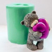 PRZY חיות עובש 3D דובון עם לב סבון תבניות עוגת קישוט כלי סיליקון דובון תבניות נרות עובש אפייה כלים