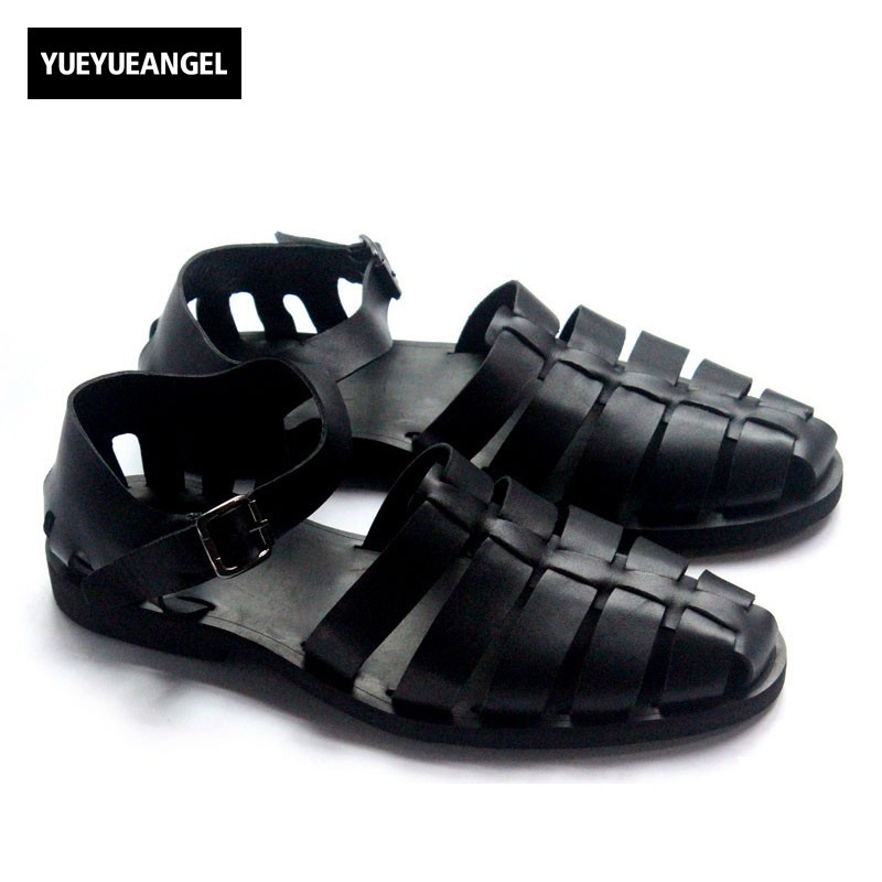 Italian Classic Mens Summer Gladiator Beach Sandals Ankle Buckle Weave Hollow Out Cow Real Leather Shoes Large Size Casual Shoes