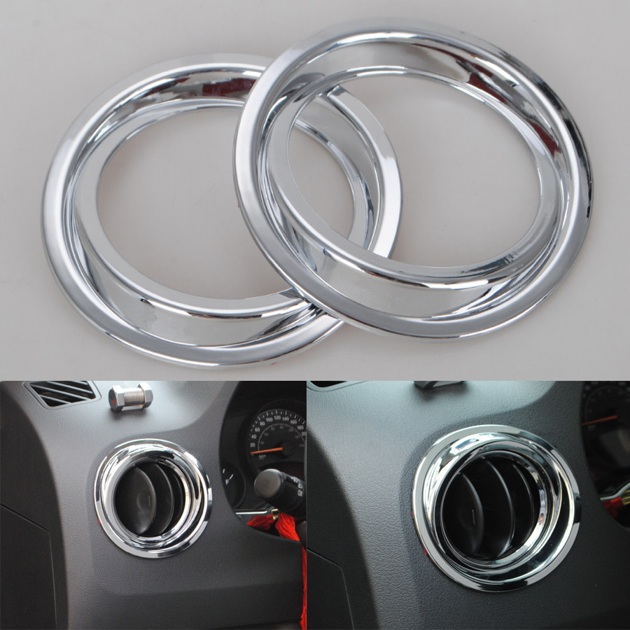 YAQUICKA 2x Chrome ABS Car font b Interior b font Air Conditioning Outlet Vent Ring Trim