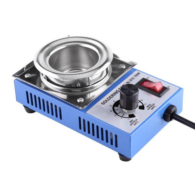 ST 21C 220V 150W tygiel lutowniczy lutownica rozlutownica kąpiel 50mm 200 450 ℃ regulowana stal nierdzewna lutownica piec cyny