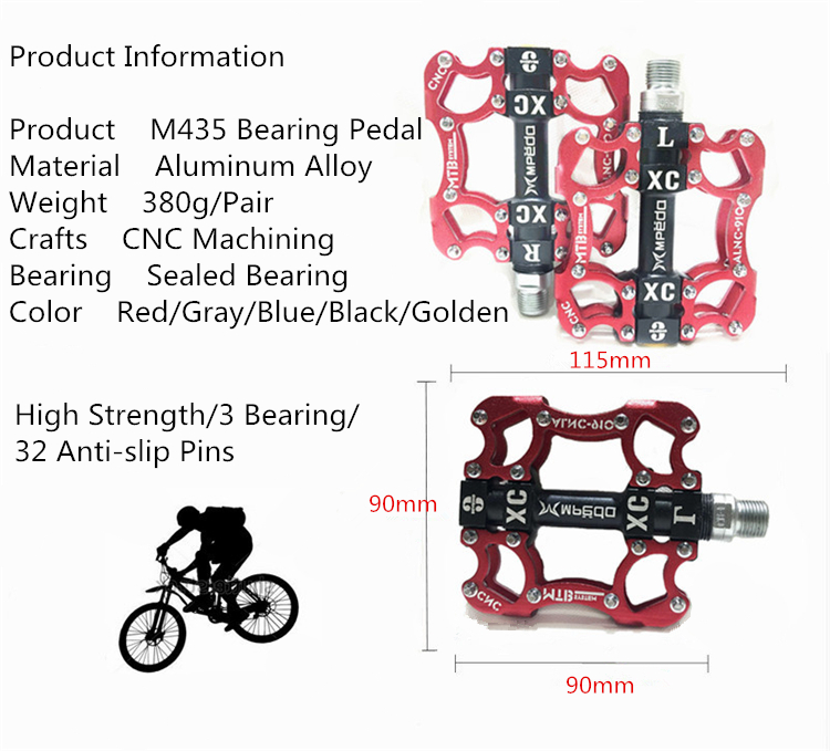 Bike Pedals MTB BMX Sealed 3 Bearing Cleats Pegs Bicycle Pedal Aluminum Alloy Ro