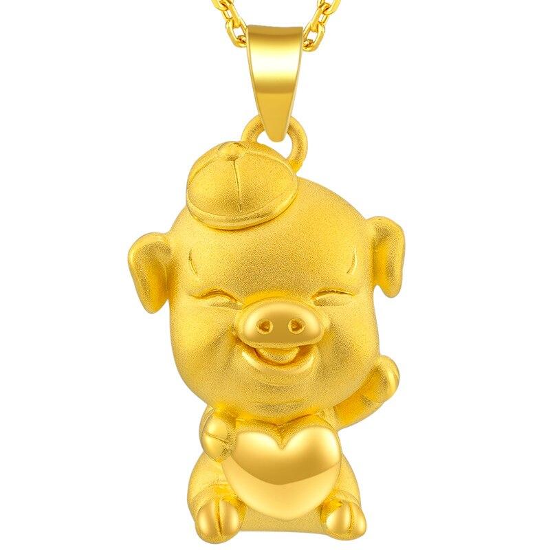 New 24K Yellow Gold Pendant 999 Gold 3D Cute Heart Pig Pendant 2.85g