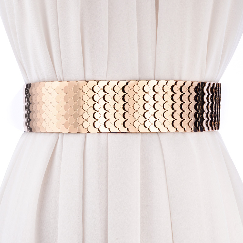fashion wide   belt   Elastic band personality punk patchwork metal scales   belts   for women match dress waistband female   belt