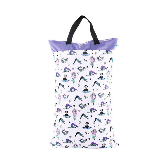 Drop shipping 40*70cm Baby Cloth Storage Bag Super Print Wetbag Reusable Big Capacity Waterproof Diaper Bag With Double Zippered