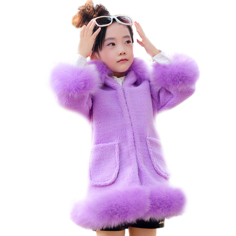 Kids Faux Fur Coats 2017 Girls  Lamb Wool Faux Fur Coat Winter Coat Long Kids GirlsChildren Jackets Elegant Childrens Clothes girls parka coats 2016 girls faux fur coat winter coat medium long kids girls brand children jackets elegant childrens clothes