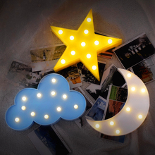 Cloud Star Moon LED 3D Lighting Night Light Cute Kids Gift Toy For Baby Children Bedroom Home Wall  Decoration Lamp